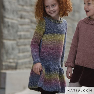 pattern knit crochet kids dress autumn winter katia 6099 20 p
