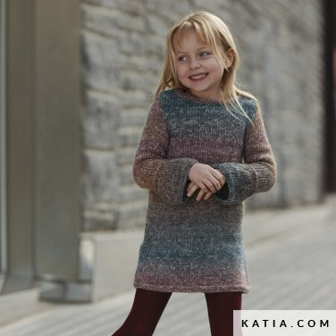 pattern knit crochet kids dress autumn winter katia 6099 24 p