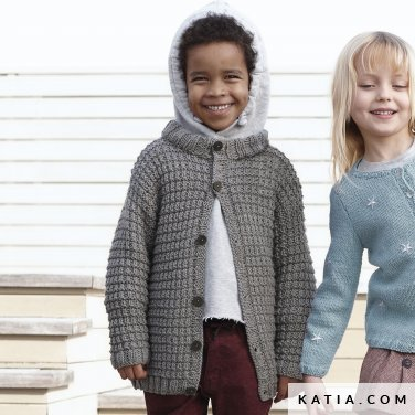 pattern knit crochet kids jacket autumn winter katia 6099 7 p