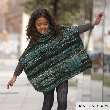 pattern knit crochet kids poncho autumn winter katia 6099 38 p