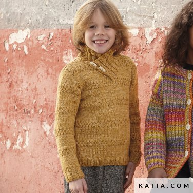 pattern knit crochet kids sweater autumn winter katia 6099 29 p