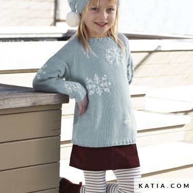 pattern knit crochet kids sweater autumn winter katia 6099 6 p