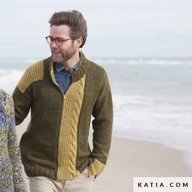 pattern knit crochet man jacket autumn winter katia 6100 35 p
