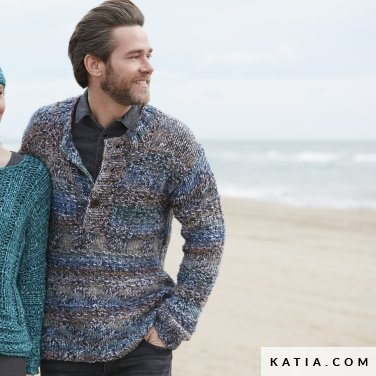 pattern knit crochet man sweater autumn winter katia 6100 13 p