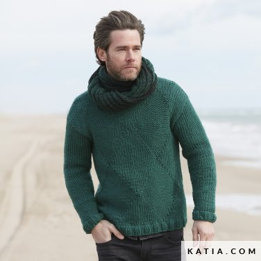 pattern knit crochet man sweater autumn winter katia 6100 15 p
