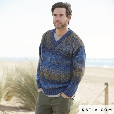 pattern knit crochet man sweater autumn winter katia 6100 8 p