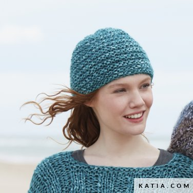 pattern knit crochet woman cap autumn winter katia 6100 12a p
