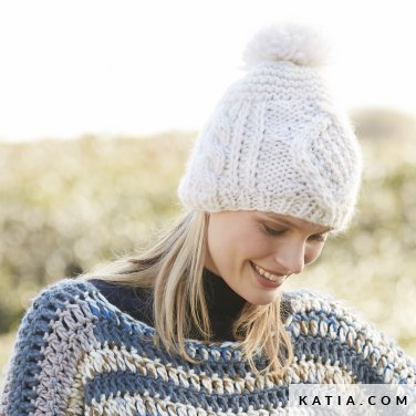 pattern knit crochet woman cap autumn winter katia 6100 4 p