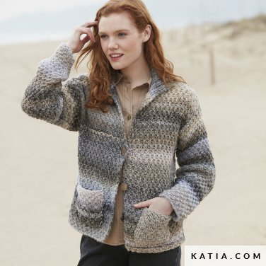 pattern knit crochet woman jacket autumn winter katia 6100 22 p