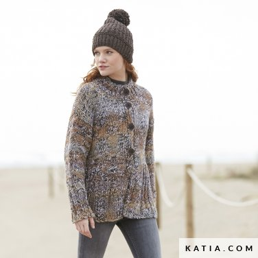 pattern knit crochet woman jacket autumn winter katia 6100 25 p