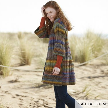 pattern knit crochet woman jacket autumn winter katia 6100 27 p