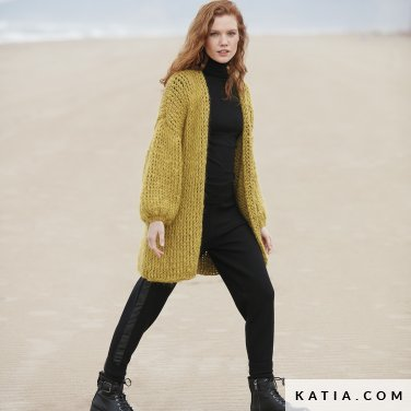 pattern knit crochet woman jacket autumn winter katia 6100 30 p