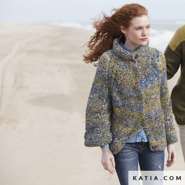 pattern knit crochet woman jacket autumn winter katia 6100 34 p