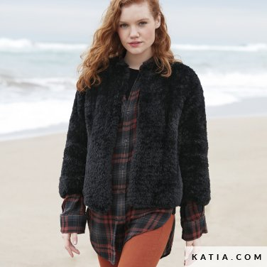 pattern knit crochet woman jacket autumn winter katia 6100 38 p