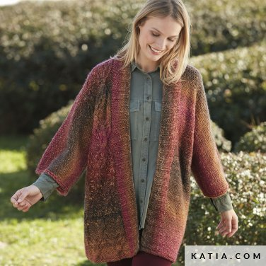 pattern knit crochet woman jacket autumn winter katia 6100 46 p