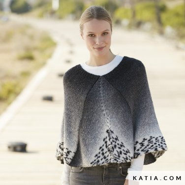 pattern knit crochet woman poncho autumn winter katia 6100 53 p
