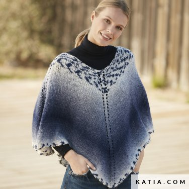 pattern knit crochet woman poncho autumn winter katia 6100 57 p