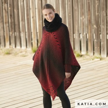 pattern knit crochet woman poncho autumn winter katia 6100 58 p