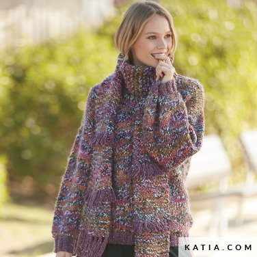 pattern knit crochet woman scarf autumn winter katia 6100 44a p