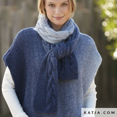 pattern knit crochet woman scarf autumn winter katia 6100 6a p