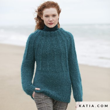 pattern knit crochet woman sweater autumn winter katia 6100 11 p