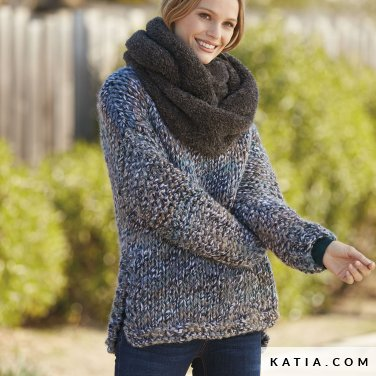 pattern knit crochet woman sweater autumn winter katia 6100 3 p