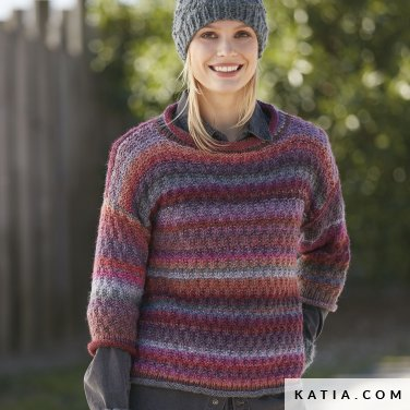 pattern knit crochet woman sweater autumn winter katia 6100 41 p