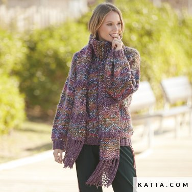 pattern knit crochet woman sweater autumn winter katia 6100 44 p