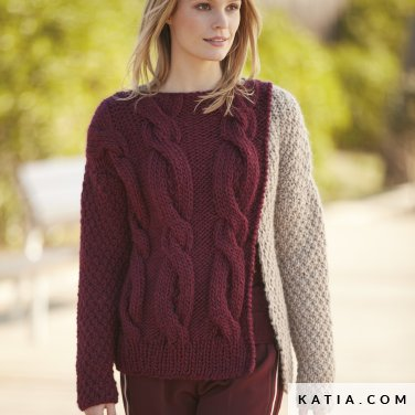 pattern knit crochet woman sweater autumn winter katia 6100 45 p