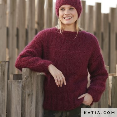 pattern knit crochet woman sweater autumn winter katia 6100 47 p