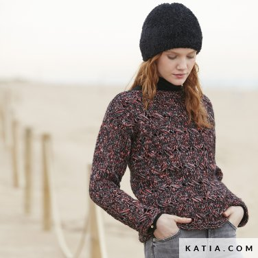 pattern knit crochet woman sweater autumn winter katia 6100 52 p