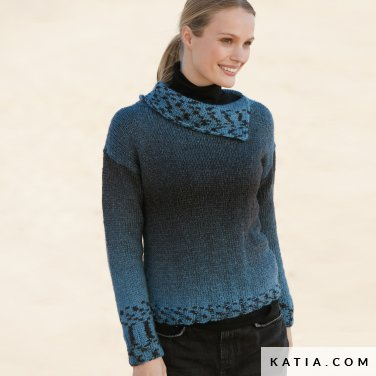 pattern knit crochet woman sweater autumn winter katia 6100 54 p