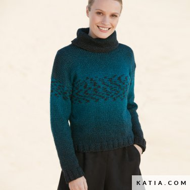 pattern knit crochet woman sweater autumn winter katia 6100 56 p
