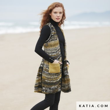pattern knit crochet woman vest autumn winter katia 6100 31 p