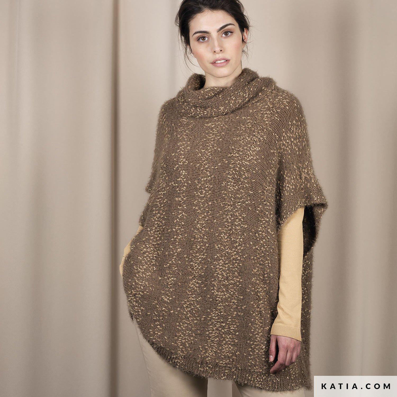 PONCHO COL ROULE - La. Poncho - Femme - Automne   Hiver - modèles   patrons    Katia.com e51cedc8842