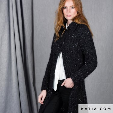 pattern knit crochet woman coat autumn winter katia 6101 12 p