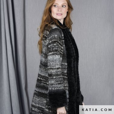pattern knit crochet woman coat autumn winter katia 6101 22 p