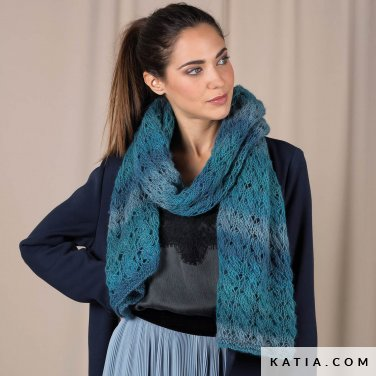pattern knit crochet woman foulard scarf autumn winter katia 6101 19 p