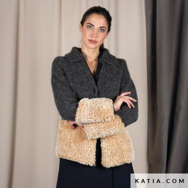 pattern knit crochet woman jacket autumn winter katia 6101 14 p