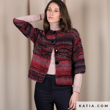 pattern knit crochet woman jacket autumn winter katia 6101 2 p