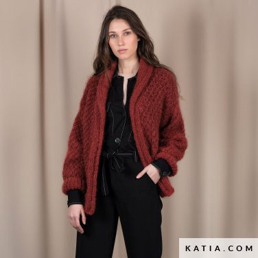 pattern knit crochet woman jacket autumn winter katia 6101 24 p
