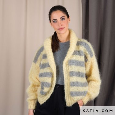 pattern knit crochet woman jacket autumn winter katia 6101 36 p