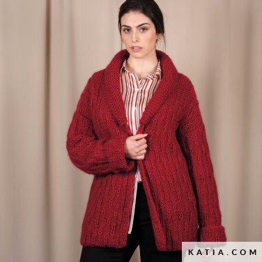 pattern knit crochet woman jacket autumn winter katia 6101 43 p