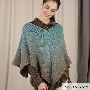 pattern knit crochet woman poncho autumn winter katia 6101 32 p