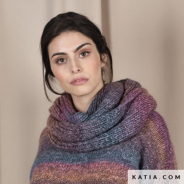 pattern knit crochet woman scarf autumn winter katia 6101 40a p