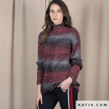 pattern knit crochet woman sweater autumn winter katia 6101 1 p