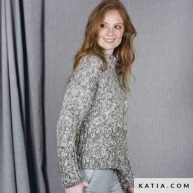 pattern knit crochet woman sweater autumn winter katia 6101 11 p