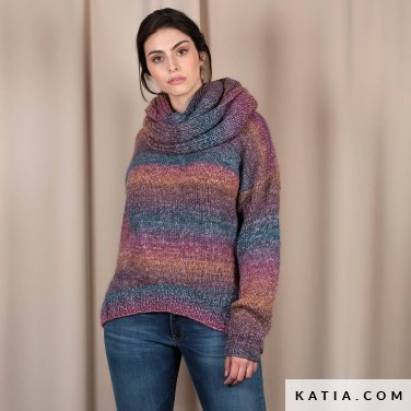 pattern knit crochet woman sweater autumn winter katia 6101 40 p