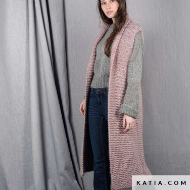 pattern knit crochet woman vest autumn winter katia 6101 16 p