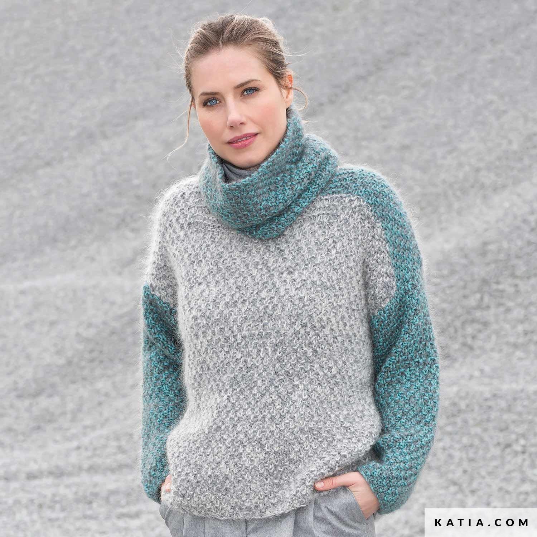 Gebreide Trui Dames.Trui Dames Herfst Winter Modellen Patronen Katia Com